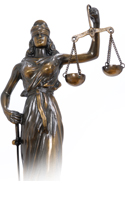 Statue of a woman holding justice scales